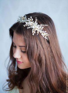 Купить Ободок с натуральным жемчугом В НАЛИЧИИ - золотой, ободок, венок, свадебное украшение