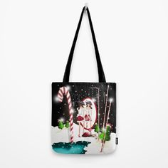 Santa's Whispering Candy Cane Tote Bag by weivy Presents For Friends, Makeup Pouch, My Themes, Good Cause, School Bags, Candy Cane, Ivy, Fashion Accessories, Santa