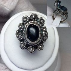 Vintage 925 Mexico Silver Ornate Onyx Poison Snuff by MoodTherapy