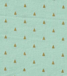 Keepsake Calico™ Cotton Fabric-Triangles On Mint With Gold Metallic