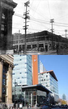 https://flic.kr/p/aDinrr | 1914-2011 | Intersection des rues Sainte-Catherine Ouest et Guy.  Source : Archives de la Ville de Montréal, VM98-Y1-P005