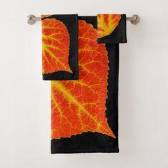 Red & Yellow Aspen Leaf #10 Bath Towel Set - autumn gifts templates diy customize