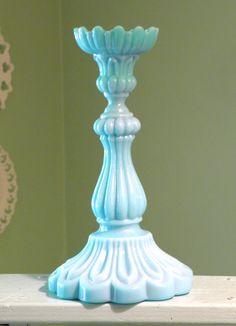 Portieux Vallerysthal Milk Glass  Candlestick