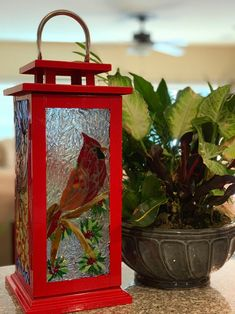 Stained glass mosaic lantern - 4 seasons of the cardinal, Cardinal lantern Glass Lanterns, Large Lanterns, Mosaic Glass, Fused Glass, Stained Glass, Tea Light Candles, Tea Lights, How To Make Lanterns, Christmas Lanterns