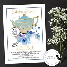 Tea Party // Kitchen Shower // Kitchen Party // Orchid // Orchids // Blue Gold White Bridal Shower Invitation by SoCalCrafty. Printed or Printable. $16+