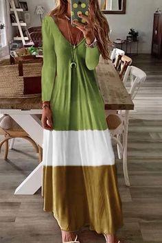 Elegant Sexy V-neck Long Sleeve Casual Loose Printed Maxi Dresses - cofashionova Long Sleeve Maxi, Maxi Dress With Sleeves, Maxi Dresses, Long Dresses, Stylish Dresses, Fashion Dresses, Floryday Vestidos, Stitching Dresses, Babe