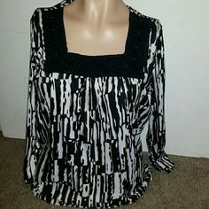 Cute R.Q.T. top Cute R.Q.T. top, size Petite Large. Cute beaded detail around neck, 100% polyester. Black, brown, and white. Tops