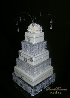 Bling Cake...WOW!!!!! Talk about classy/elegance...Gorgeous! Its too pretty to cut into!!!! Hahahaha