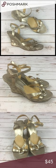 """Michael Kors Size 10 Gold Leather Wedge Sandals Michael Michael Kors Gold Leather Wedge Sandals Women's Size 10  Gently used - mild signs of being worn, overall in good condition. Leather Upper, Rubber Sole  Wedge heel is ~ 4"""" tall Sides are woven/braided metallic gold Ankle strap w/ buckle MICHAEL Michael Kors Shoes Wedges"""