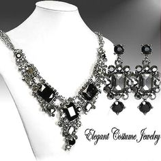 Black Diamond Crystal Necklace Set Elegant Wedding Jewelry Www Elegantcostumejewelry