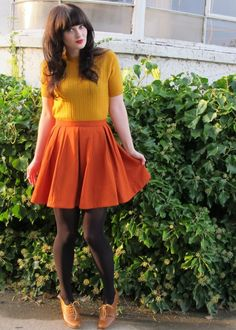 Oxford heels outfit - Orange pleated skirt, cable knit mustard shirt and brown tights Mustard Shirt, Mustard Sweater, Oxford Heels Outfit, Oxfords, Dress Skirt, Dress Up, Pleated Skirt, Outfit Vestidos, Brown Tights