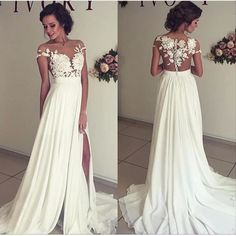 See through lace wedding dress, beach wedding gown, Sexy see through prom dress, prom dresses 2017  The See through beach wedding gown is fully lined, 4 bones in the bodice, chest pad in the bust, lace up back or zipper back are all available, total 126 colors are available.  This dress could be ...