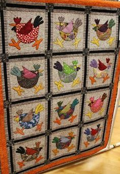 Spring Chickens quilt pattern by Meme Quilts - this version is much more whimsical than sample shown on mfgs pattern Quilting Projects, Quilting Designs, Sewing Projects, Quilt Design, Quilting Patterns, Applique Patterns, Applique Quilts, Bird Patterns, Diy Quilt