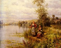 Country Women Fishing on a Summer Afternoon by Louis Aston Knight, Oil on canvas