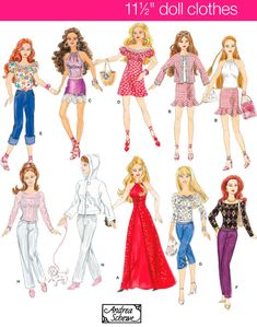 FASHION DOLLS Clothes Sewing Pattern ~ Barbie Doll Wardrobe