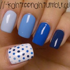 Ombre and polka dots. Cute! I also have it pinned in purples