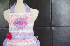 Toddler Apron 12m-2T Pink and Purple Retro Girly with ruffles and flower Play Kitchen FREE SHIPPING