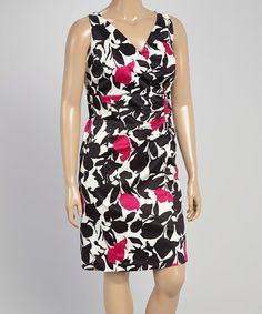 53f5ebcb7e1 Dana Kay Black   Magenta Floral Surplice Dress   Bolero - Plus