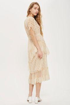 Embellished Mesh Tier Midi Dress