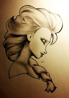 Elsa Pencil Sketch- credit goes to artist! Like if Elsa is your favorite character!: