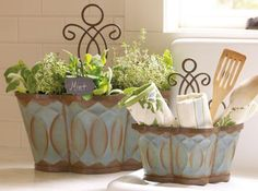 Flat-bottomed Morningside Nesting Planters sit easily on a counter or table — use them as organizers in the kitchen, office or bath — and nest for easy storage. Iron swirls are removable and can be displayed either at the top of the planter as a hanger or on the bottom as a decorative element. Drainage holes included. Coordinates with our Morningside Door Bucket. The blue/brown finish on these is really something special. Shown with our Villa Stoneware (already sold out), the etched glass ... Kitchen Redo, Kitchen Storage, Kitchen Office, Willow House, Southern Living Homes, Living At Home, Swirls, Tablescapes, Dekoration