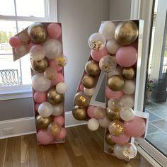 18th Birthday Party, Sweet 16 Birthday, Birthday Bash, Birthday Balloon Decorations, Birthday Balloons, Diy Party Decorations, Balloon Template, Number Balloons, Graduation
