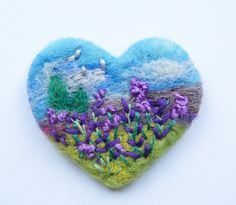 Felt Brooch, Heart, Needle Felted Brooch, Lavender Meadow, (c) 2015, ARTWORK, MADE TO ORDER (other shapes on request)   **THIS IS A GOOD TIME TO