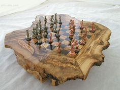 chess set : wooden chess / olive wood chess / by wodenCraftGift Chess Board Set, Wood Chess Board, Chess Sets, Chess Set Unique, Chess Table, Chess Pieces, Wood Gifts, Woodworking Workshop, Table Games