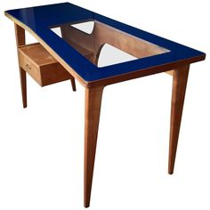 1950s Italian Desk with deep blue glass top