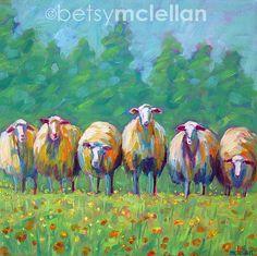 Flock of Sheep Original Painting by betsymclellanstudio, $55.00