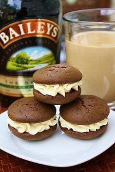 Irish Cream Whoopie Pies    Ingredients  Yields about 20 whoopie pies  For the cookies:    1 3/4 cups all-purpose flour  3/4 cup unsweetened cocoa powder  1 1/2 tsp baking soda  1/2 tsp salt  5 tbsp unsalted butter, softened  1/2 cup granulated sugar  1/2 cup packed dark-brown sugar  1 large egg  1 cup Baileys Irish Cream  1 tsp pure vanilla extrac