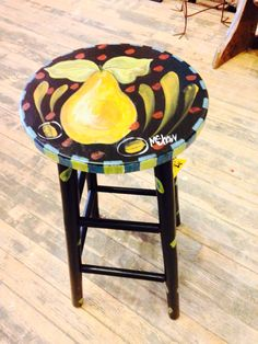 Old stool painted by MShaw-Folkart.com