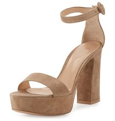 """Suede platform ankle-wrap sandal by Gianvito Rossi. Gianvito Rossi suede sandal. 4. 3"""" covered block heel; 1. 5"""" platform; 2. 8"""" equiv. Strap bands open toe. Adjustable ..."""