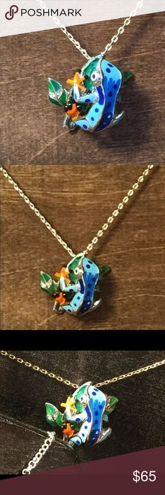 Sterling Silver / Enamel Frog Pendent Hand painted sterling silver and enamel tree frog pendent.  Length is 18 inch.  Gorgeous color and limited production Jewelry Necklaces