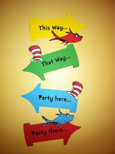 Dr Seuss inspired party signs, Thing 1 and Thing 2 party, Birthday party signs Dr Seuss Party Ideas, Dr Seuss Birthday Party, First Birthday Parties, Theme Parties, Dr Seuss Graduation Party, Dr. Seuss, Dr Seuss Day, Twin First Birthday, Baby Birthday
