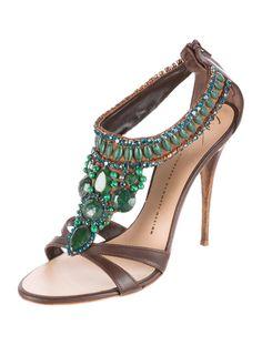 e183e9911cc2c Giuseppe Zanotti Embellished Leather Sandals - Shoes - GIU30315