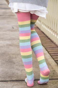 8385008be81 Extraordinary Candy Pastel Rainbow Thigh High. Rainbow SocksRainbow Outfit Knee ...