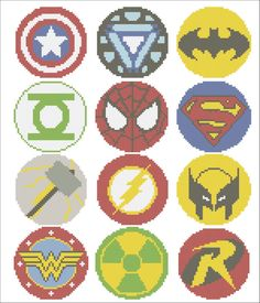 BOGO FREE! Superheroes Marvel logos comic characters Cross Stitch Pattern - pdf pattern instant download #132 by Rainbowstitchcross on Etsy https://www.etsy.com/listing/276255746/bogo-free-superheroes-marvel-logos-comic