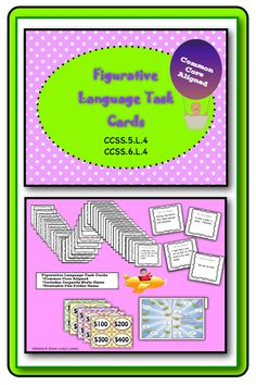 $ Students will enjoy reviewing, practicing or brushing up on figurative language with this set of task cards. This set includes practice with personification, idioms, adages / proverbs, hyperbole, similes, metaphors, onomatopoeia, alliteration, imagery, palindromes and puns. The printable pack includes 44 self checking task cards, directions, a student answer sheet, answer key, game show template, and a file folder game board. $