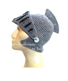 knight helmet hat children teen adult crochet medieval fantasy and adventure play