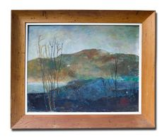 MODERNIST AMERICAN OIL ON BOARD(UNSIGNED,) VIEW OF POSSIBLY MT. MONADNOCK NH