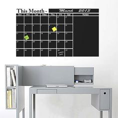 FREE dry erase chalk marker - Big Monthly Chalkboard wall Calendar X Vinyl Decal Organize Your Monthly Office, Home And Family Plans - Chalkboard Wall Calendars, Chalkboard Vinyl, Family Calendar Wall, Chalk Ink, Smooth Walls, Chalk Markers, Used Vinyl, Vinyl Wall Decals, Wall Colors