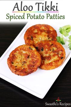 Aloo tikki is a popular Indian snack made with boiled potatoes & spices. They are eaten with green chutney or can be topped with yogurt & chutney Aloo Recipes, Veg Recipes, Indian Food Recipes, Cooking Recipes, Dinner Recipes, Indian Potato Recipes, Vegetarian Indian Foods, Snack Recipes, Cooking Pasta