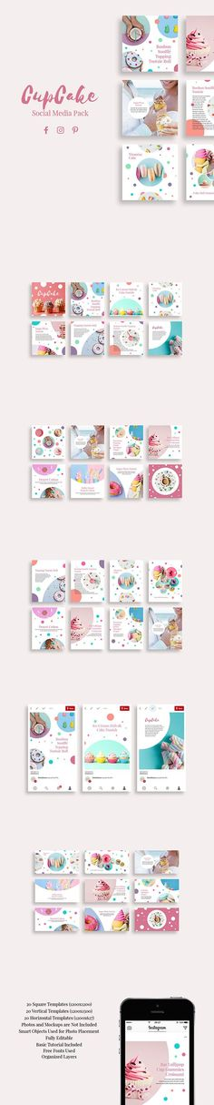 CupCake Social Media Pack gives your business a design boost with its cute look. It is optimized for Instagram, Facebook and Pinterest but thanks to square, vertical and horizontal templates you can use it in any social media platform including blogs. Created by @Slidestation on @Creativemarket