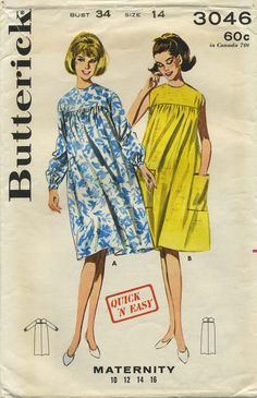 Vintage Sewing Pattern | Maternity Dress | Butterick 3046 | Year 1964 | Bust 34 | Waist 26 | Hip 36