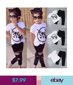 f1dccc613552 $7.99 - 2Pcs Toddler Kids Baby Girls T-Shirt Tops+Leggings Pants Outfit  Clothes Set 2-7Y #ebay #Fashion