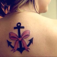 Anchor and Ribbon Tattoo!! Love it with the pink but would get yellow to support my solider!!