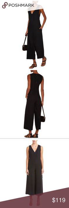 Rachel Zoe Leslie woven silk jumpsuit size 2 Woven silk, front slit pockets, whipstitch trim, partially lined. Button -fastening. Keyhole concealed zip at back. 100% silk. Fitted at bust and waist and loose at hip. Mid weight non stretchy fabric. Model is wearing size 2.  I wore this three times and although 100% silk the woven was a bit heavy for me in Hawaii . It is an amazing wardrobe staple and I wish I could wear it more but given my climate it's just a bit heavy. It's classic fits so…