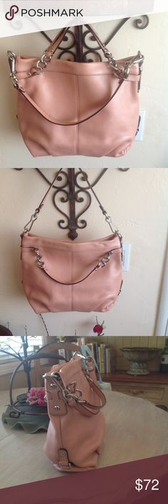 """COACH leather bag. perfect condition. beautiful ! coach Kokomo leather bag.  color is a little darker than peach (apricot ) and lends itself well to many outfits. excellent condition. pristine inside and out. measures approx 14"""" X 11"""" X 5"""" . strong magnetic closure across top and large inside zipper pocket plus 2 pockets on opposite side. silver lining. Coach Bags Hobos"""