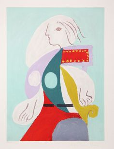 Artist: Pablo Picasso Title: Femme A La Robe Multicolore Year of Original: 1932 Year of Publication: 1979-1982 Medium: Lithograph on Arches Paper Edition: 500, 34 AP's Paper Size: 29 x 22 inches Ref #: 22-B